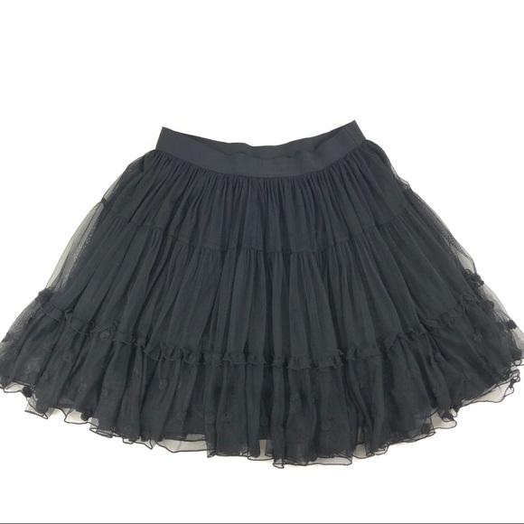 b8b35b28d1 Lane Bryant Skirts | Black Tulle Skirt Tiered Embroidered | Poshmark